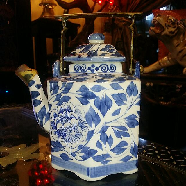 Blue And White Antique Teapot With Brass Handle