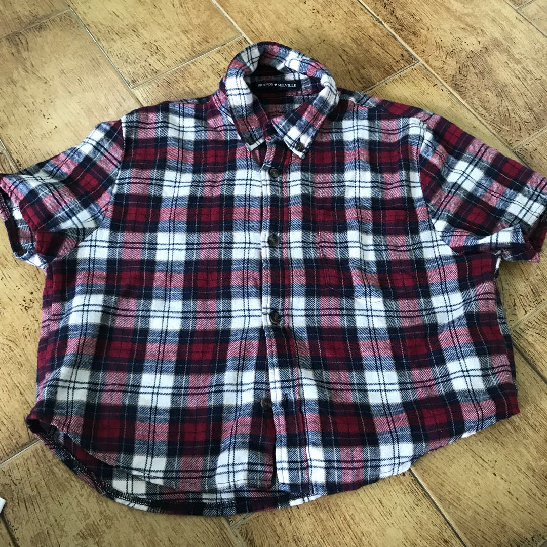 0aa7fa171dcf9c BN Brandy Melville Red Checkered Felix cropped shirt, Women's ...
