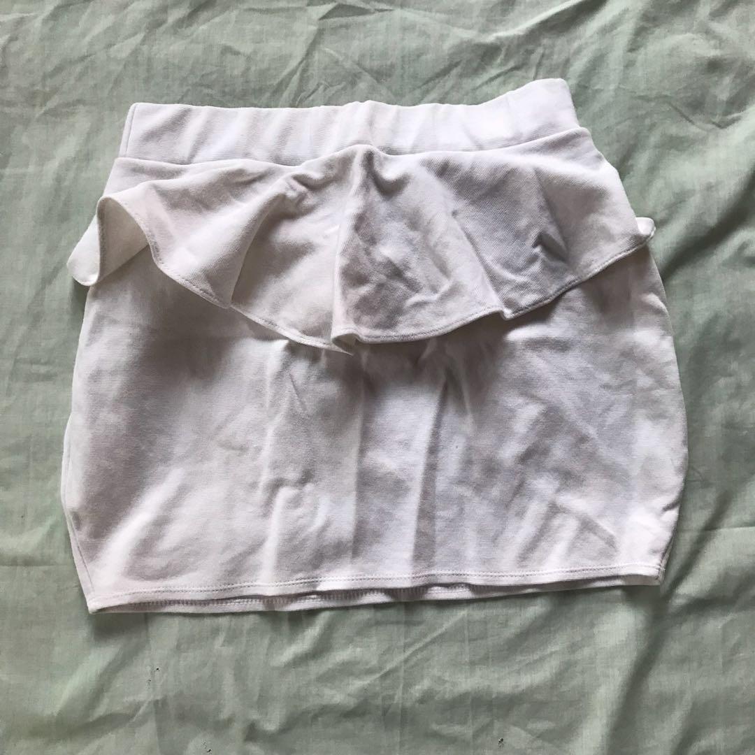 Body Con White Mini Skirt