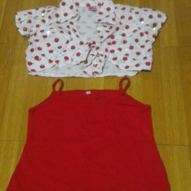 Bolero and spaghetti strap blouse set
