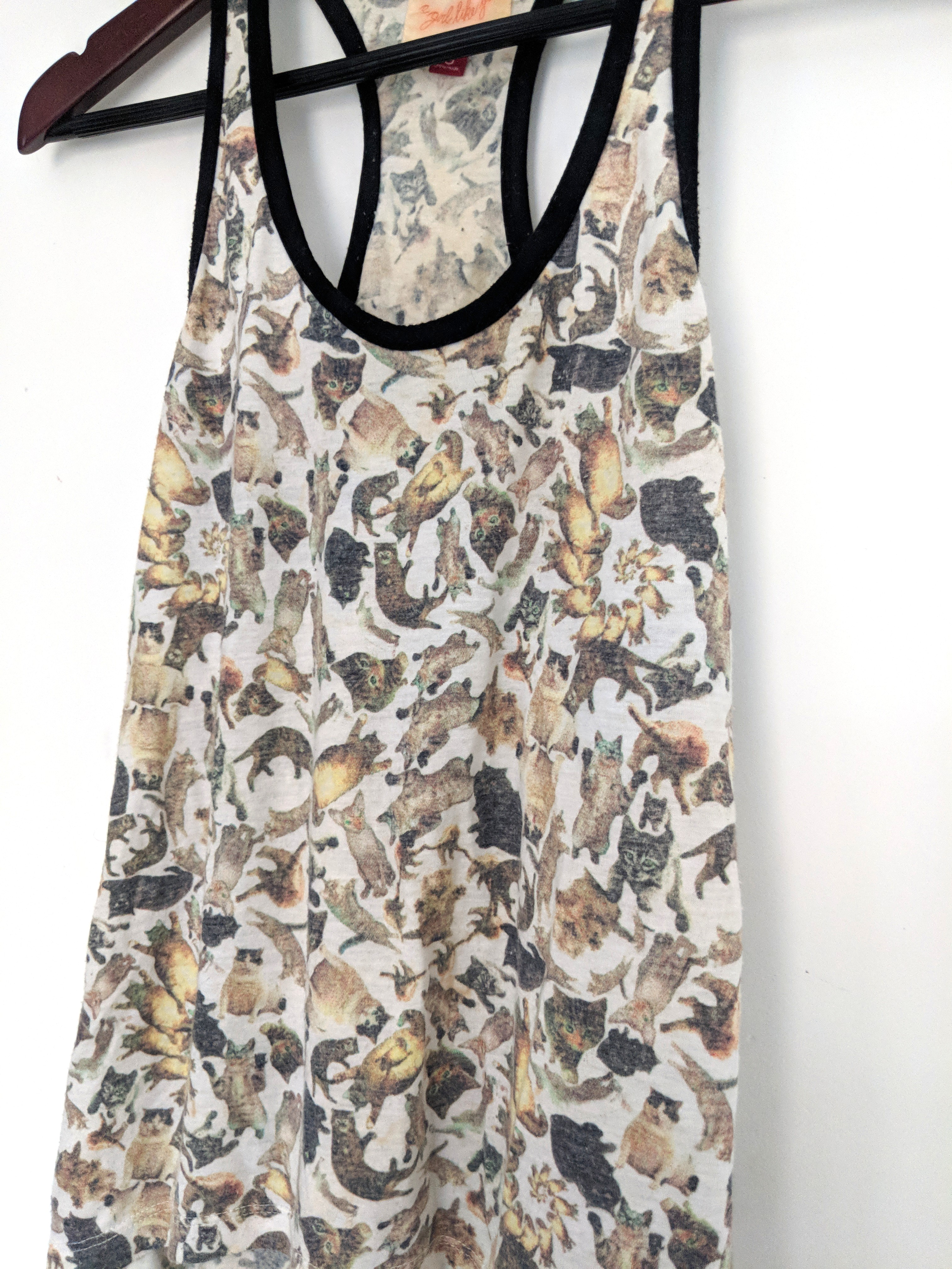 Cat Print Tank Top Urban Outfitters