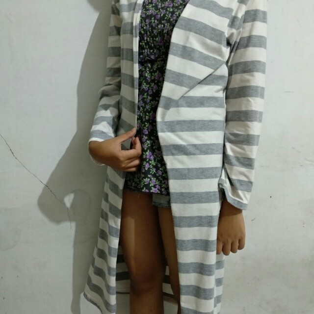 Stripe Long Cardigan *freeongkir