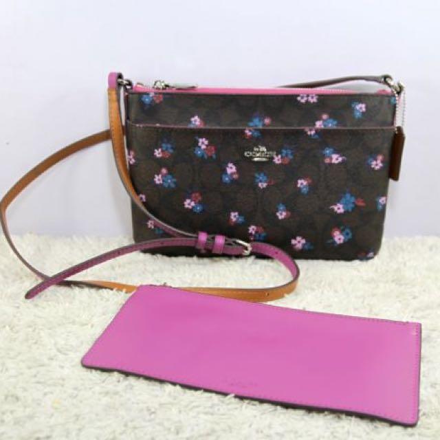 Coach Signature Floral Print EW w/ Pop Up Pouch Crossbody Bag-PURPLE/DARK BROWN