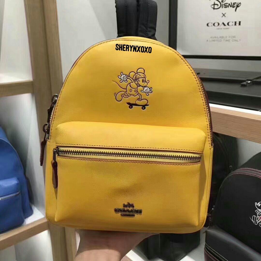 6432f201eab Coach x Disney Mini Charlie Backpack Glove Calf Leather Mickey ...