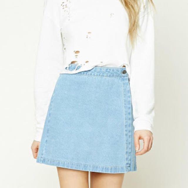 Copper denim wrap skirt