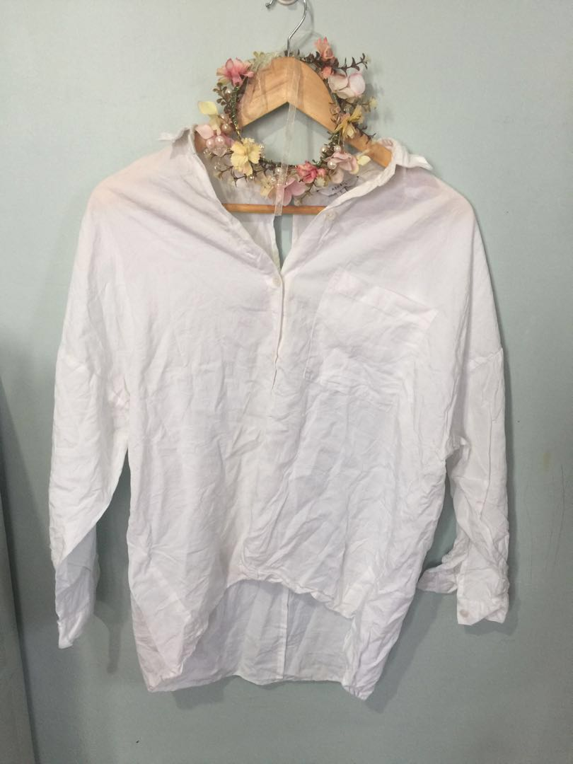 Cotton collared top loose style s-large