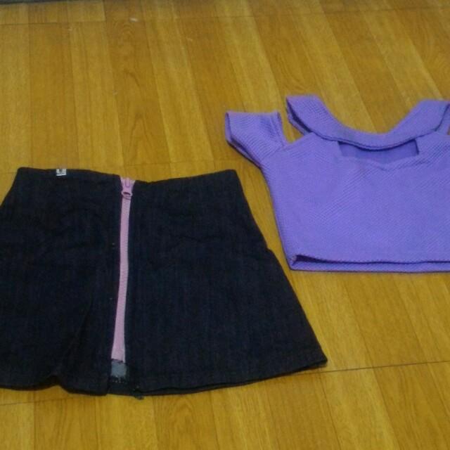 Crop top and soft denim skirt set