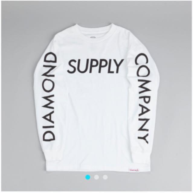Diamond 長袖 薄 Tee 白 長袖上衣 Supply Long Sleeve T Shirt White
