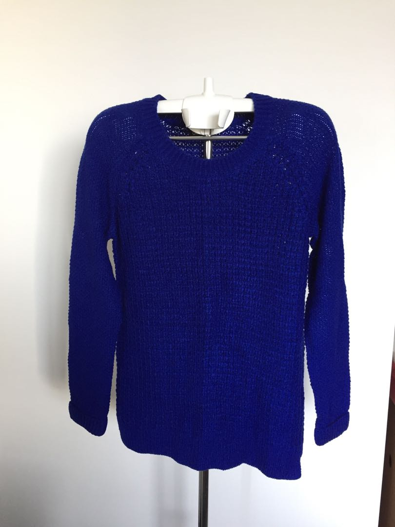 Dotti Blue Knitted Sweater - Size S stretchable