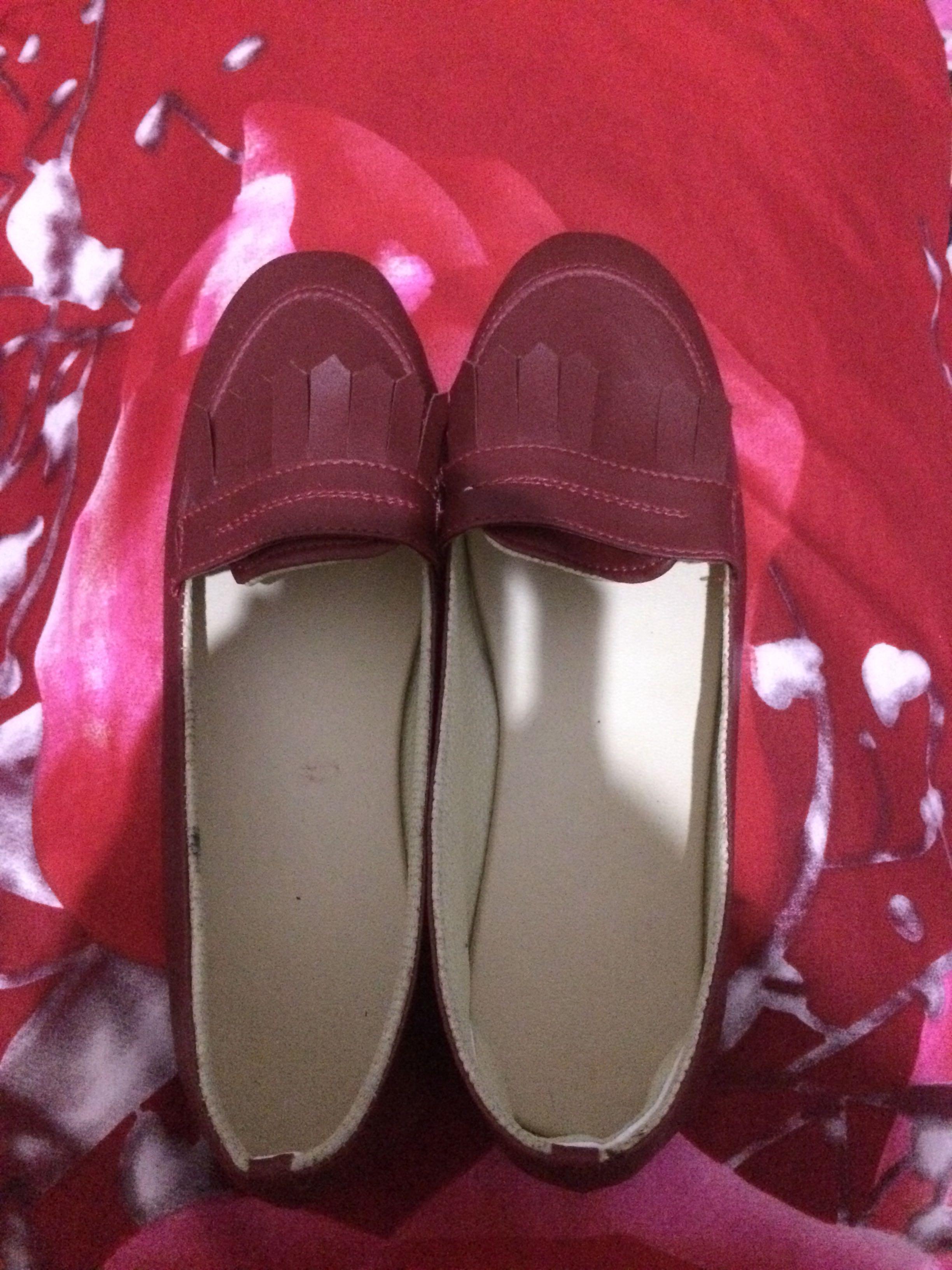Flat shoes rumbai red