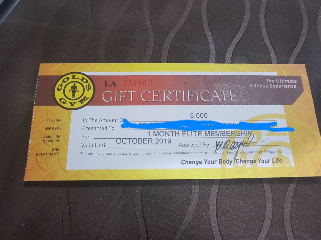 Gold's Gym Gc worth 5000php