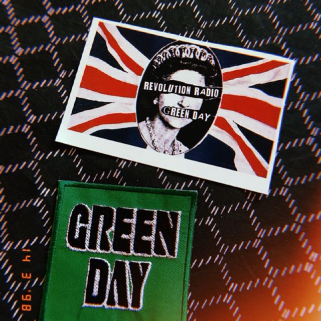 green day band merch iron/sew on patch and sticker
