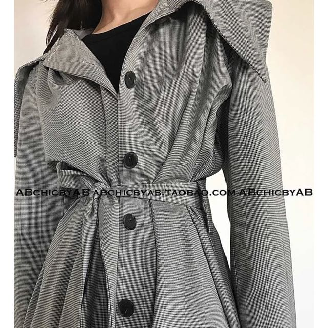 Grey long trench coat