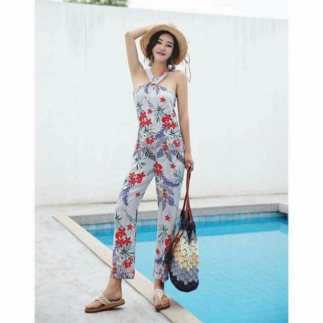 Halter floral jumpsuit/overall