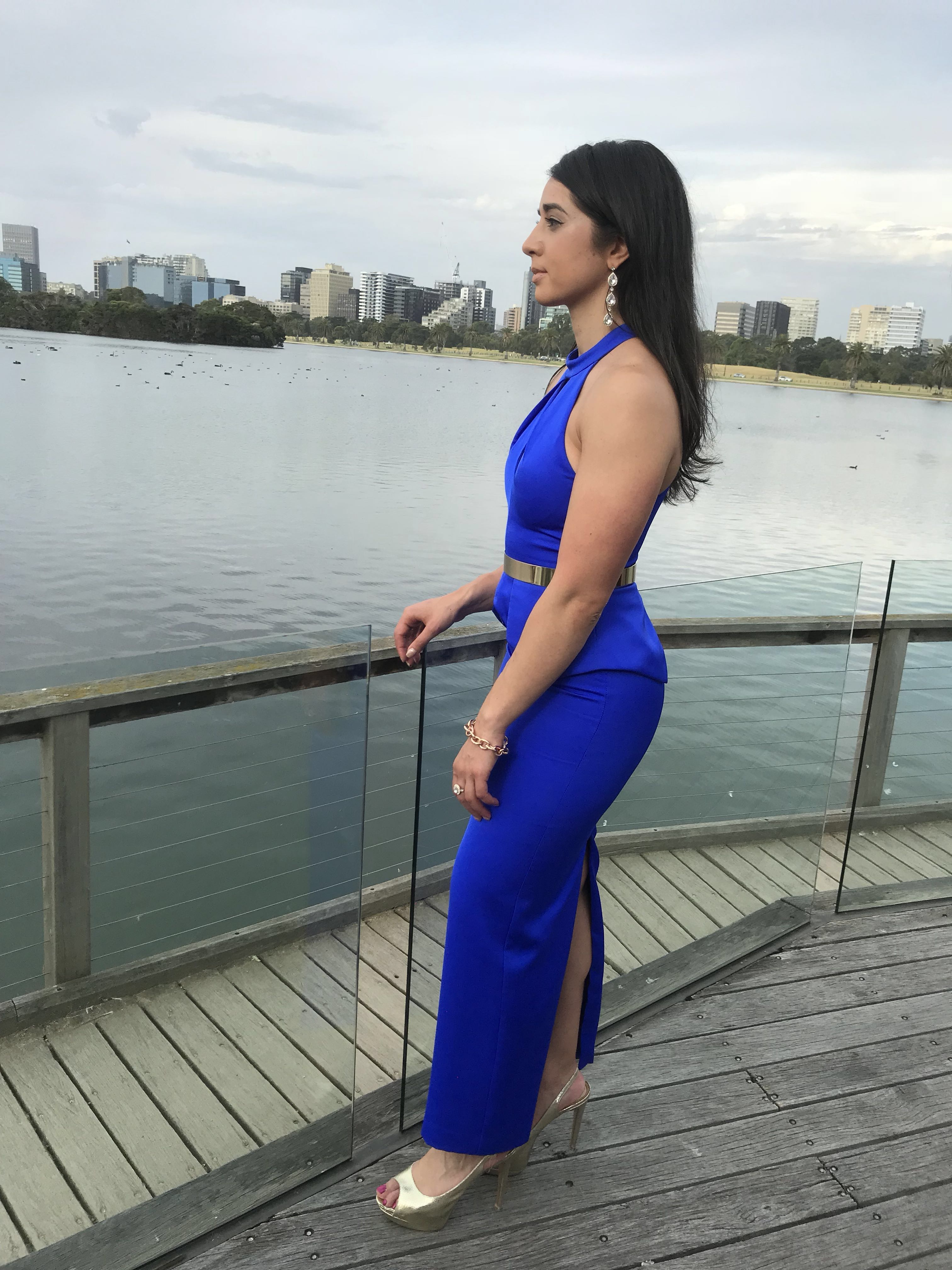 High neck royal blue dress