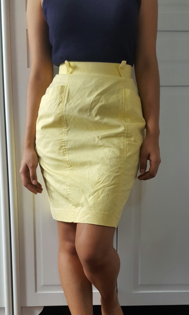 High Waist Pastel Yellow Skirt (bought from Japan)