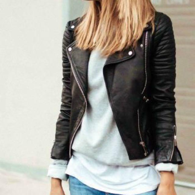 H&M Faux PU Leather Biker Winter Jacket Black Size 8