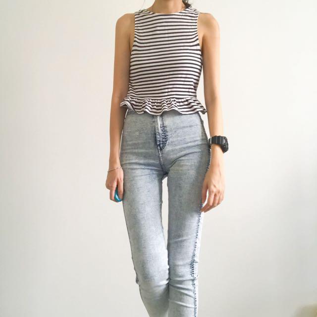 H&M Stripe Crop Top #Bajet20