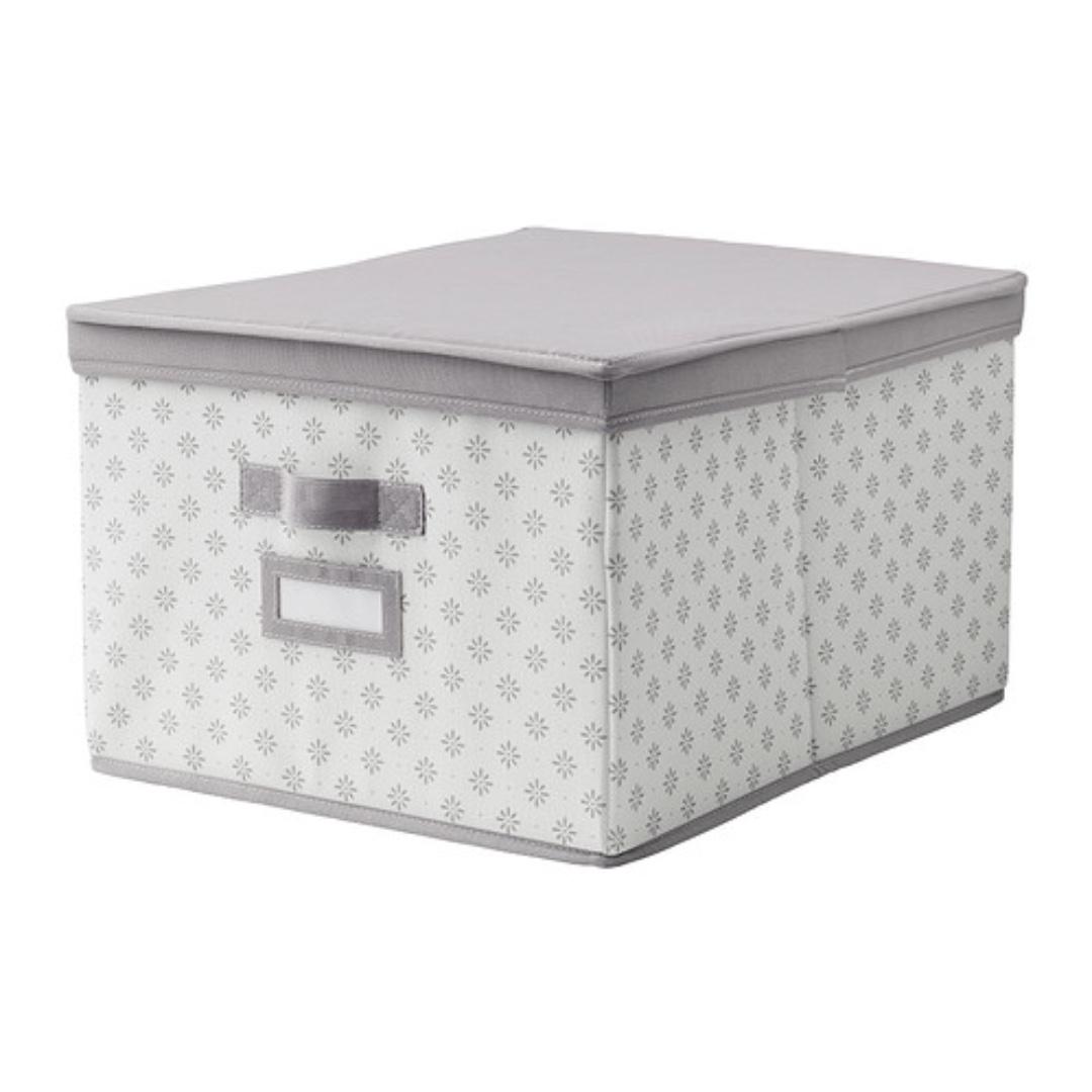 IKEA; SVIRA Box with lid, gray, white flowers