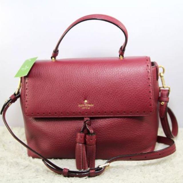 Kate Spade Sparrow James Street Leather Shoulder Handbag-MERLOT