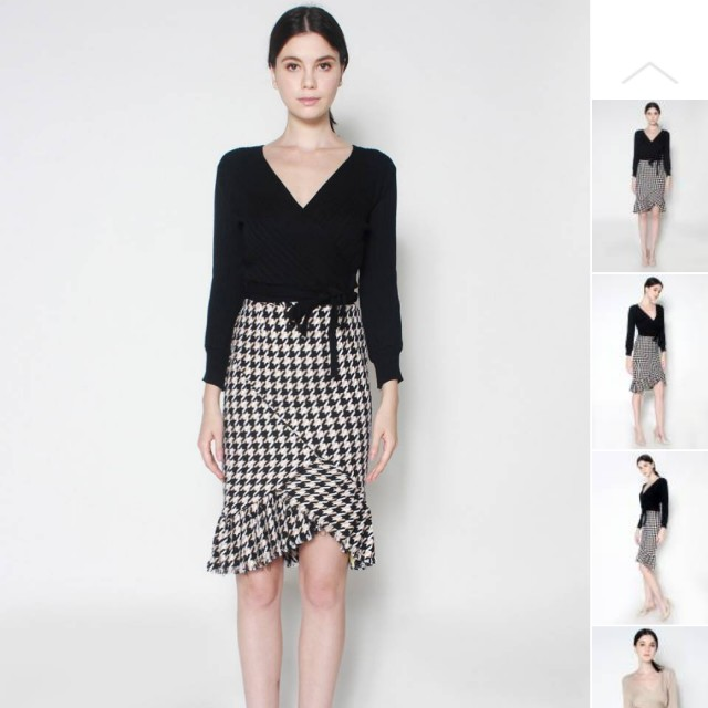 80a57cf3905 Lexi Lyla Houndstooth Pleated Tweed Pencil Skirt
