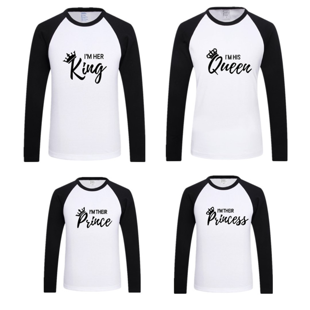 1d283407 Family Matching Clothes TShirt Long Sleeve KING QUEEN PRINCE ...