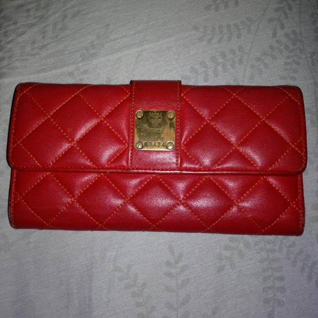 Mcm red quilted long wallet