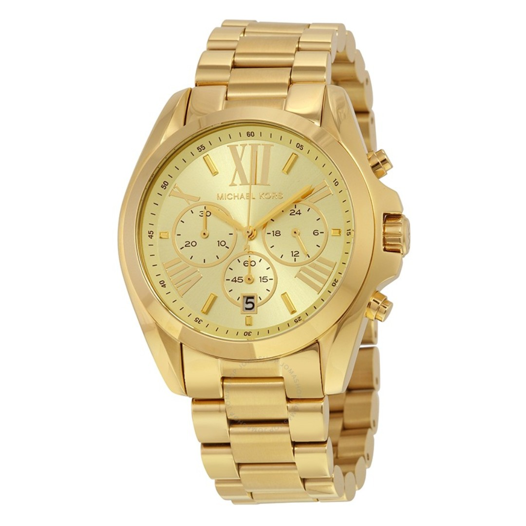 0e266672e98f NEW Michael Kors Chronograph Unisex Gold Stainless Steel Strap Watch ...