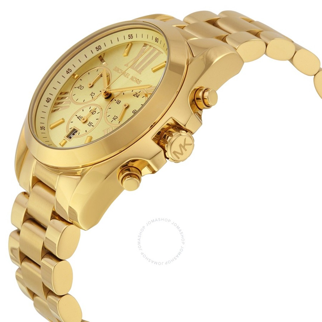 c031f4adcf72 NEW Michael Kors Chronograph Unisex Gold Stainless Steel Strap Watch MK5605