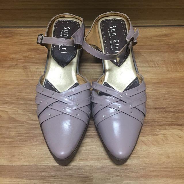 MIT 尖頭藕色跟涼鞋