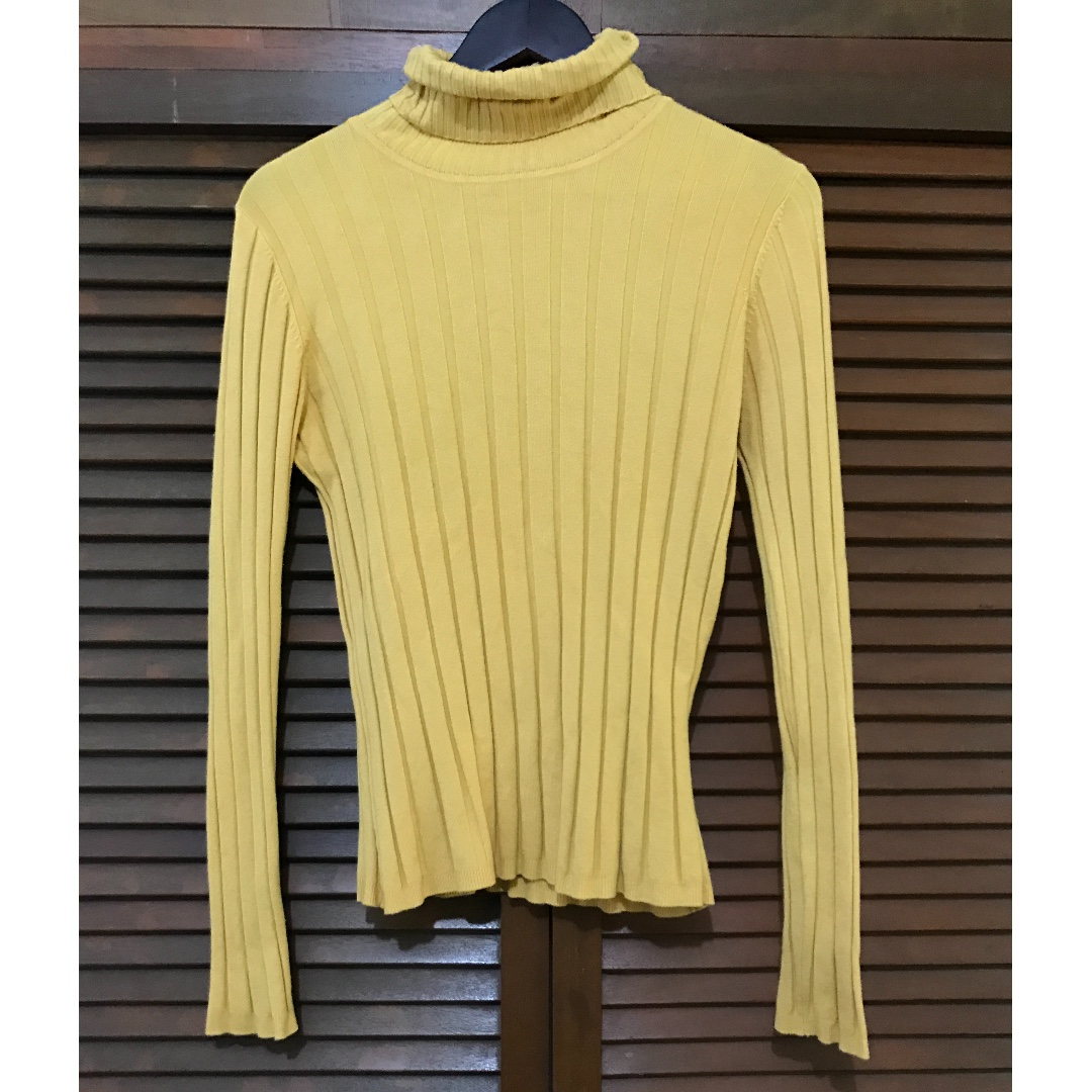 Mustard Yellow Turtleneck Sweater Womens Fashion Clothes On Carousell