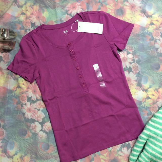 New Uniqlo Front Buttons Supima Cotton Light Knit Tee in Purple #Bajet20