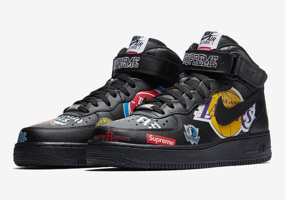 Supreme X Nike x NBA Team Air Force 1 Mid BLACK EU 43 US 95 UK 85