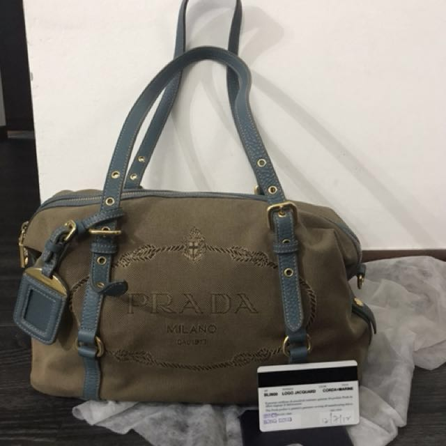 a7486516b4d1 Prada Canvas Logo Jacquard Bauletto, Luxury, Bags & Wallets, Others ...
