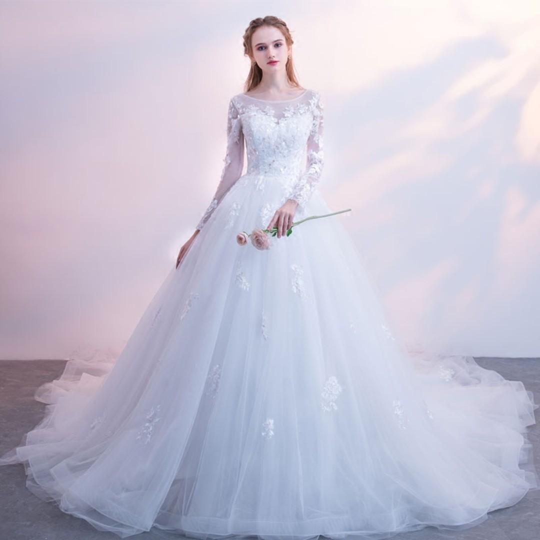 Pre order white long sleeve fishtail puffy wedding bridal prom ball ...
