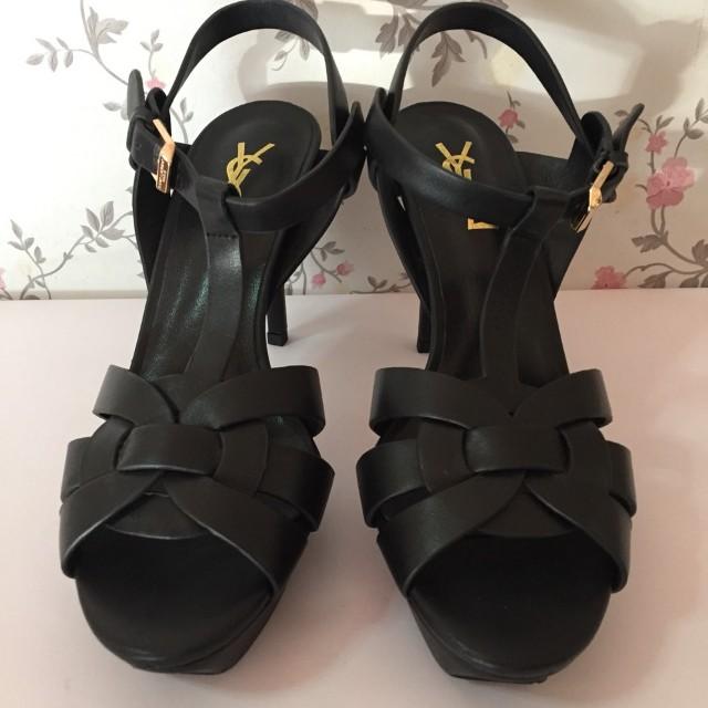 Preloved YSL Tribute Heels in Matte Black 38