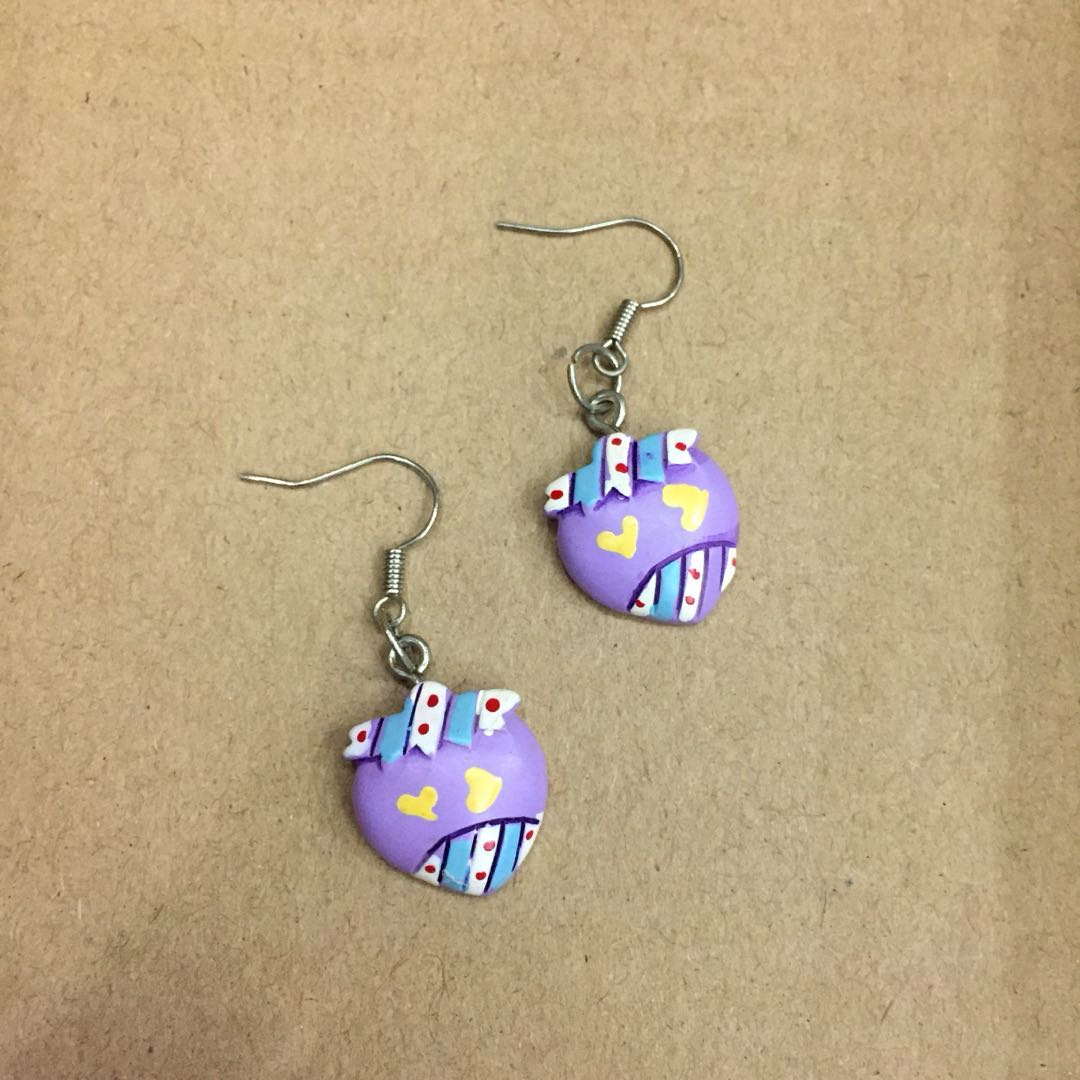 Purple Strawberry with Handmade Art Earrings #Bajet20