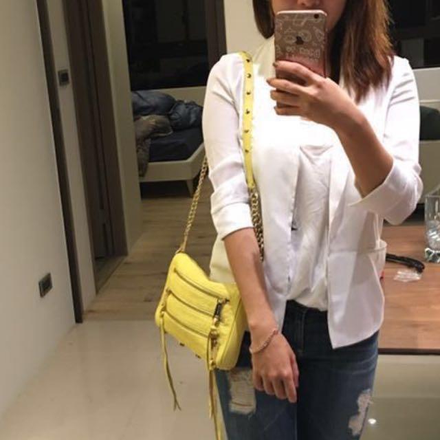 [降價]Rebecca minkoff 經典五拉鍊款 三用包 (肩背,側背,斜背)鵝黃色 實用 時尚 原價台灣ㄧ萬二