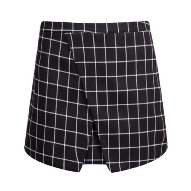 37a85e011 ROMWE Plaid/ Grid Wrap Bodycon Skirt (asymmetrical/ origami/ overlap ...