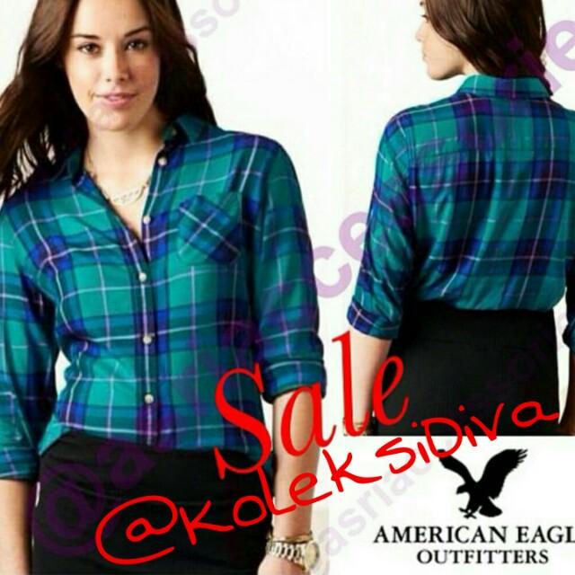 Sale! America Eagle Plaid Girlfriend Shirt Tosca