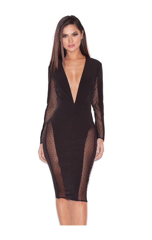 Sheer plunge dress - M