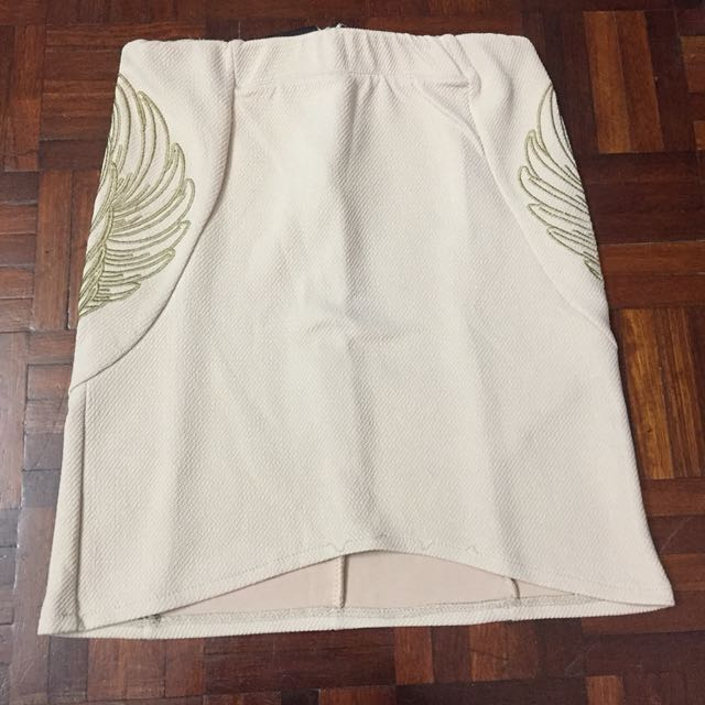 Side Angel Wings Beige Skirt  #Bajet20