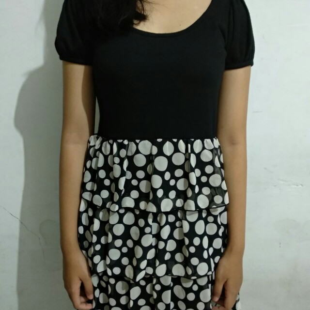 Polka Mini Dress *freeongkir