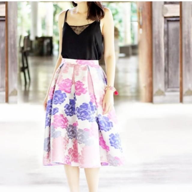 Summer hawaii flare skirt in jaquard