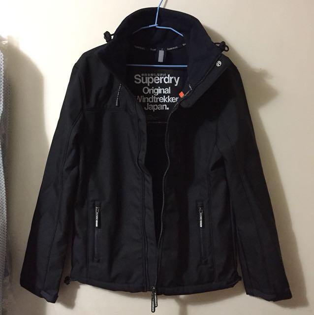 (正品)superdry 極度乾燥 黑深藍 防風刷毛 外套