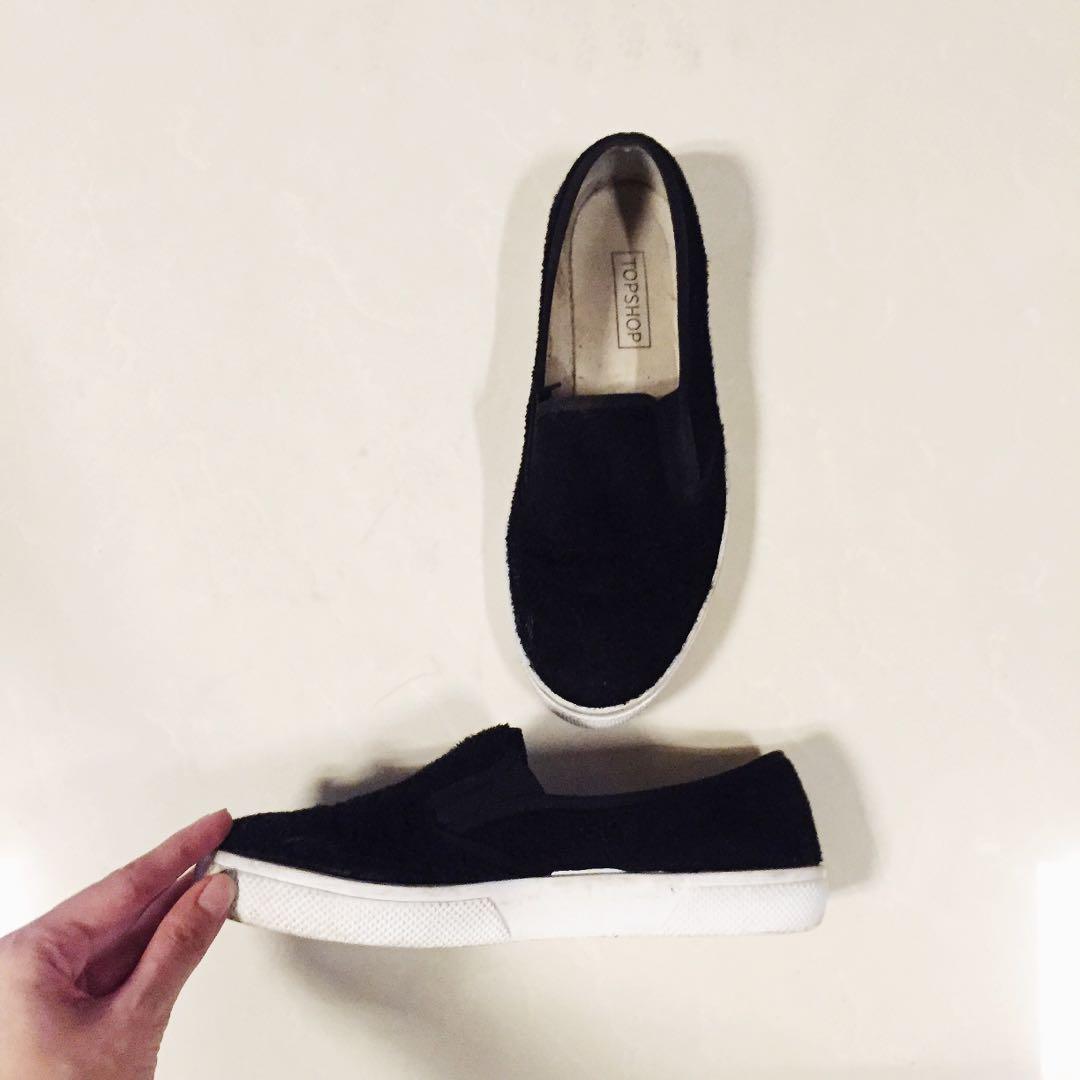 Topshop Black Slip Ons, Women's Fashion