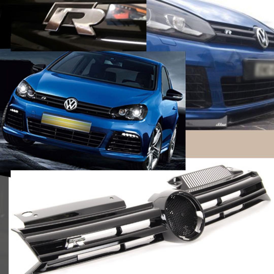 volkswagen golf mk6 golf r style black chrome grille car. Black Bedroom Furniture Sets. Home Design Ideas