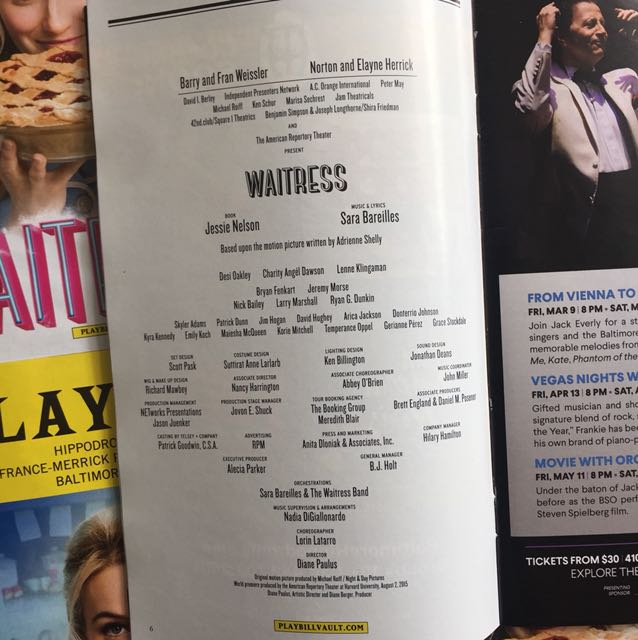 WAITRESS Playbill (National Tour), Everything Else on Carousell