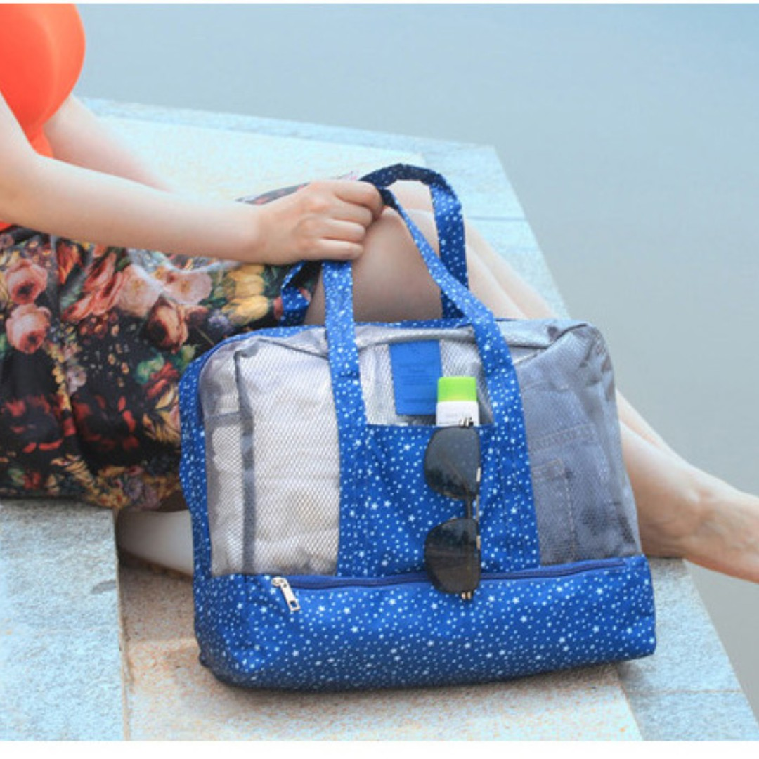 Waterproof Dry Wet Divide Storage Bag Travel Beach Swimming Bag B13905
