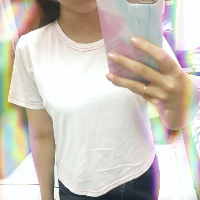 White hi low t shirt tee putih kaos
